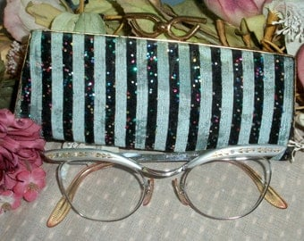 Cat eye glasses silver tone 12 K GF with rhinestones and original case Mid Century 1950