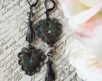 Verdigris, Filigree Heart With Rusty Black Connector/Hand Charm. Rhinestone balls & Black Diamond Swarowski Crystal