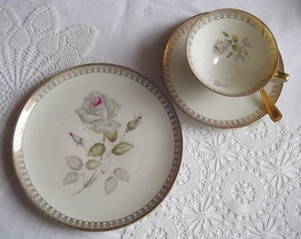 Shadow Roses / Smokey Roses / Lots of Gold Lace - 1950s Vintage - TEACUP, SAUCER & PLATE - Winterling - Roeslau, Bavaria, Germany