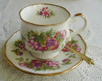 Cherry Blossoms and Fruit - Queen's Rosina - 1980s Vintage - TEACUP & SAUCER - Bone China - Stoke-on-Trent, Staffordshire, England
