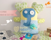Mr. Elephant activity baby/toddler toy/plushie/plush pal/stuffed toy.Shower gift idea. Made to order