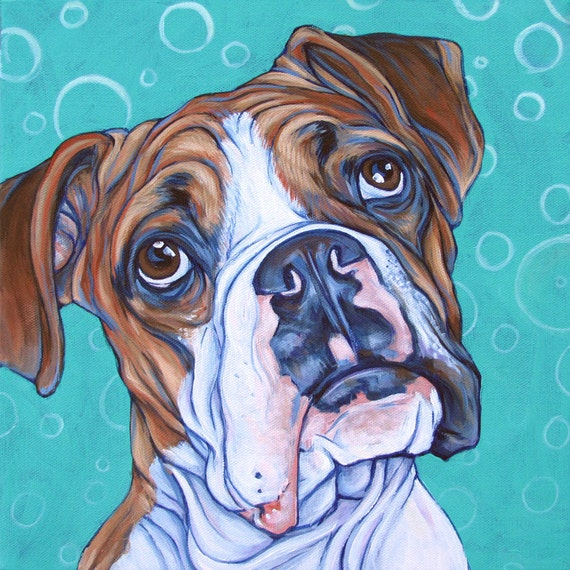 12 x 12 custom pet portrait painting in acrylics
