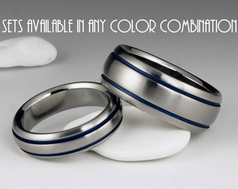 Titanium Ring Unique Wedding, Engagement, Promise or Anniversary Set with Domed Profiles and Two Blue Pinstripes on Either Side