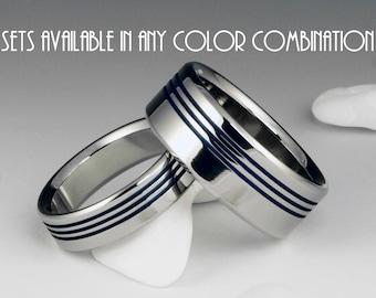 Titanium Wedding Band Set - Engagement Ring Set - Flat Profile - Three Off Center Blue Pinstripes