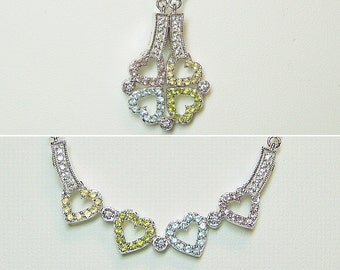 Unique Sterling Convertible Heart Necklace .925 Silver  - Two for One