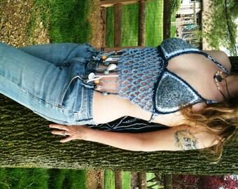 Tribal Trinket Halter in blue, hippie, festival, gypsy top