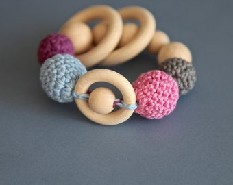 Teething rings toy rattle with crochet wooden beads and 3 wooden rings. Blue, pink, grey, lilac
