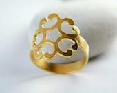 Gold flower ring zen flower ring gold zen ring zen jewelry