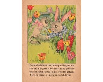 Original Book Print, Vintage Kids Wall Art, 1930s Childrens Book Page, Baby Room Decor, Peter Rabbit Illustration, Easter Kitten Mouse