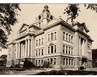 Vintage Real Photo Postcard Brown County Court House Green Bay Wisconsin 1940s EKC