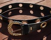 vintage NIKOLAOS leather belt ITALY gold buckle
