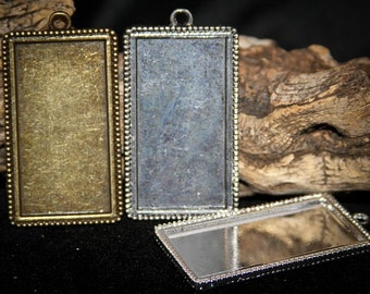 12 HALF OFF Rectangle Pendant Vintage Beaded edge Base for Photos, Artwork, Cabochons, Cameos or Resin Lead and Nickel Free