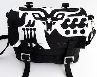 Small Messenger Bag - Marimekko - Canvas - Black - White