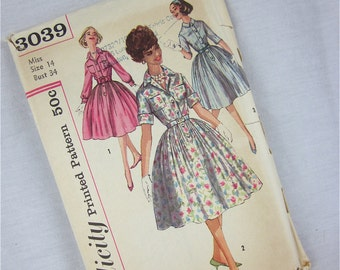 Vintage 50s Dress Sewing Pattern, Simplicity, 3039