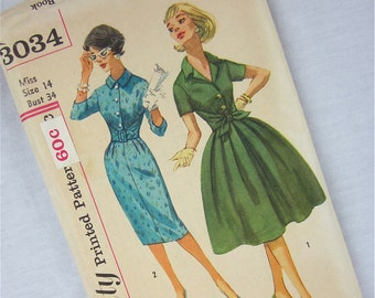 Vintage 50s 60s Dress Sewing Pattern, Simplicity, 3034