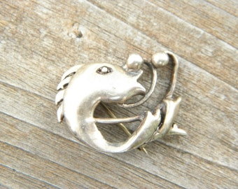 Modernist Sterling Silver Fish Pin