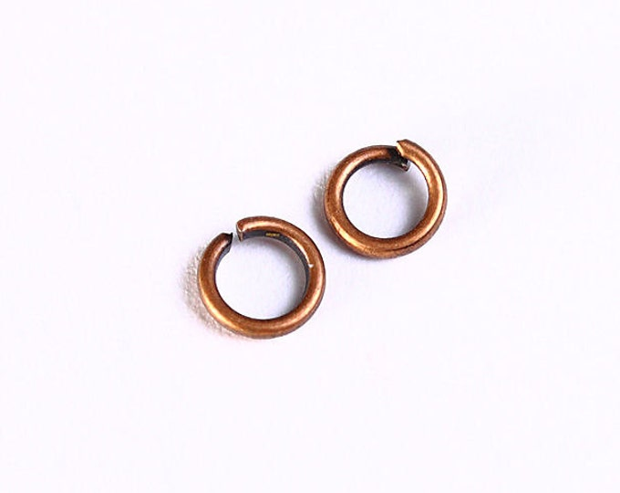 4mm antique copper jumpring - antique copper round jump rings - Open Jumprings (1041) - Flat rate shipping