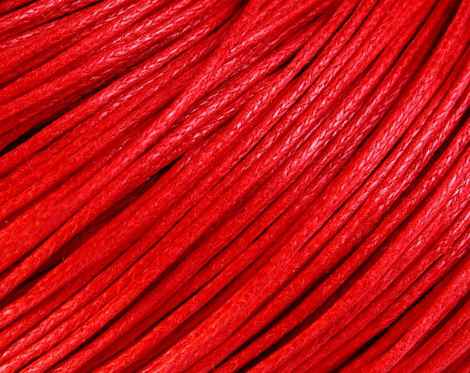 1mm Red cotton wax cord - 10 feet (1099) - Flat rate shipping