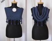 hand knitted blue navy blue wool shawl stole scarf neckwarmer