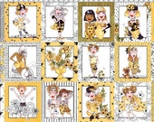 Reserved for Diana, Loralie Bee Happy Fabric, Loralie Fabric, 2 Panels, 01406