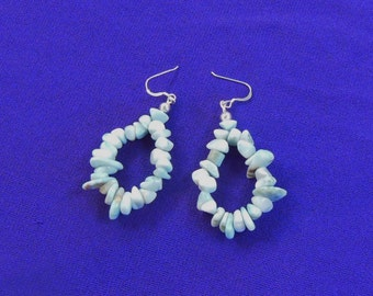 Larimar Natural Gemstone Nugget Teardrop Hoop Earrings with Sterling Silver findings and French Style Ear Wires