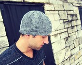 Knit Mens Beanie Hat Knitted Gray Cable Man Unisex Grey Crochet Cap Womens