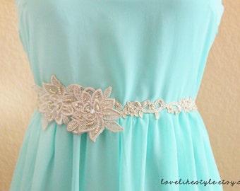 Skinny Gold Lace with Pearl Beading Flowers with Champagne Ribbon HeadBand / Skinny Lace Sash, Bridal Sash, Bridesmaid Sash