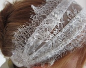 Boho Chic, Chantilly Lace, Alencon Crystal Pearl Embellished Bridal Headband-CECILE