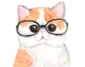 Cat print - funny cat art - cat with glasses - orange tabby cat painting - print of cat - watercolor cat painting - 8X10 print
