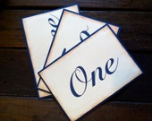 Table Number - Set of 10 - Vintage Wedding -  Vintage Wedding - Navy Blue - Flat