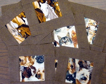 Horses Dogs and Cats 6 inch quilt blocks