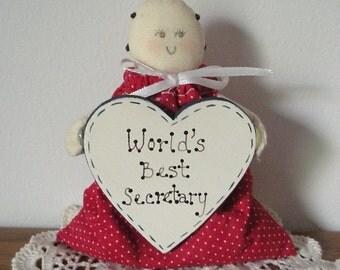 World's Best Secretary Gift Rag Doll With Heart Sign