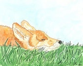 "Giclee Art Print, ""Mr. Fox"",  From Embroidered Watercolor Painting, Orange, Green"