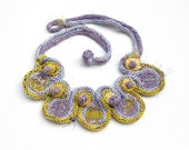 Knitted bib necklace with bamboo and textile beads, lavender yellow, OOAK