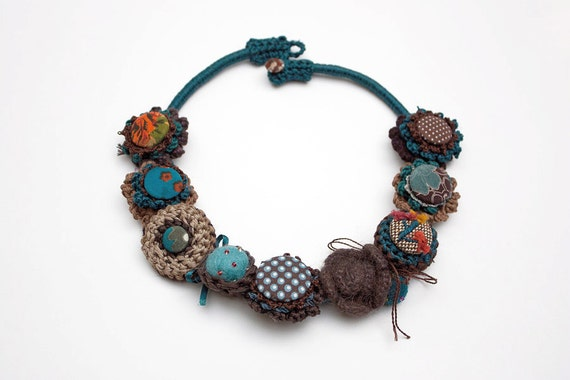 Unique brown blue necklace, crochet with fabric buttons