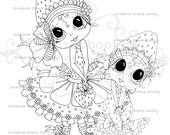 INSTANT DOWNLOAD Digital Digi Stamps Big Eye Big Head Dolls Digi  Strawberry Girls By Sherri Baldy