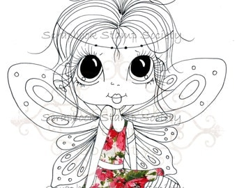 INSTANT DOWNLOAD Digital Digi Stamps Big Eye Big Head Dolls Digi  My Besties Fairy IMG693 Partly Pre Colored Digi  By Sherri Baldy
