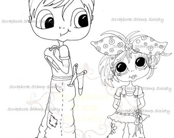 INSTANT DOWNLOAD Digital Digi Stamps Big Eye Big Head Dolls Digi  My Besties Big Brother By Sherri Baldy