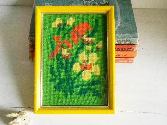 Flower Needlepoint Art Flower Power - MOD Midcentury Hippie BOHO Groovy Retro Mad Men - Needlework -1960's-70's