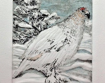 """Ptarmigan-Early Snow is a 4""""x6"""" embossed etching with aquatint and watercolor"""