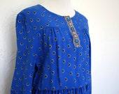 Vintage Cerulean Peasant Style Dress