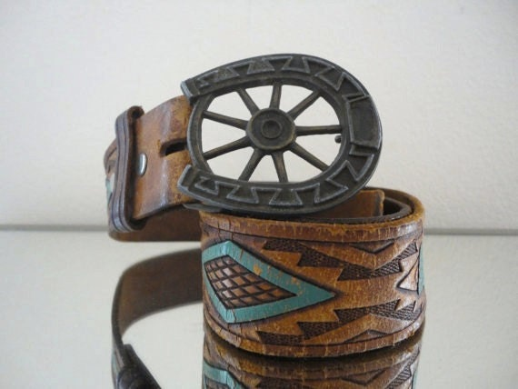 Vintage Hand-tooled Leather Belt with Turquoise Detailing