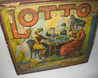 Rare Antique McLoughlin Bros Lotto Game - Chromolithograph Graphics