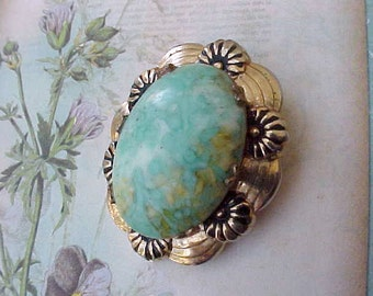 "Pretty Vintage Brooch with Aqua Colored ""Stone"""