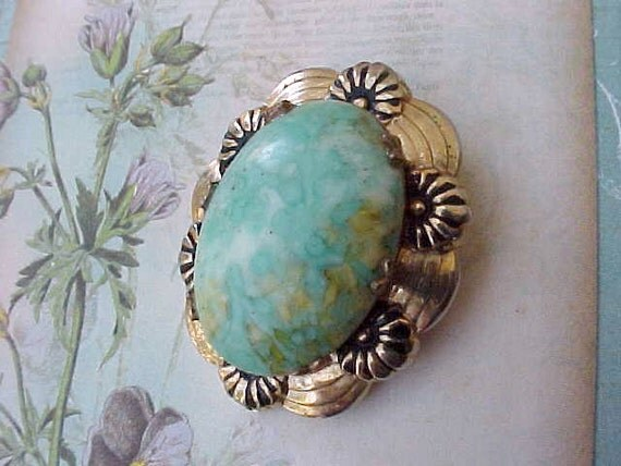 Pretty Vintage Brooch With Aqua Colored Stone By