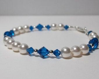 Sterling Silver Swarovski Bracelet. Capri Blue and White Bracelet. Swarovski Pearls and Crystals. Bridal. Formal. Prom.