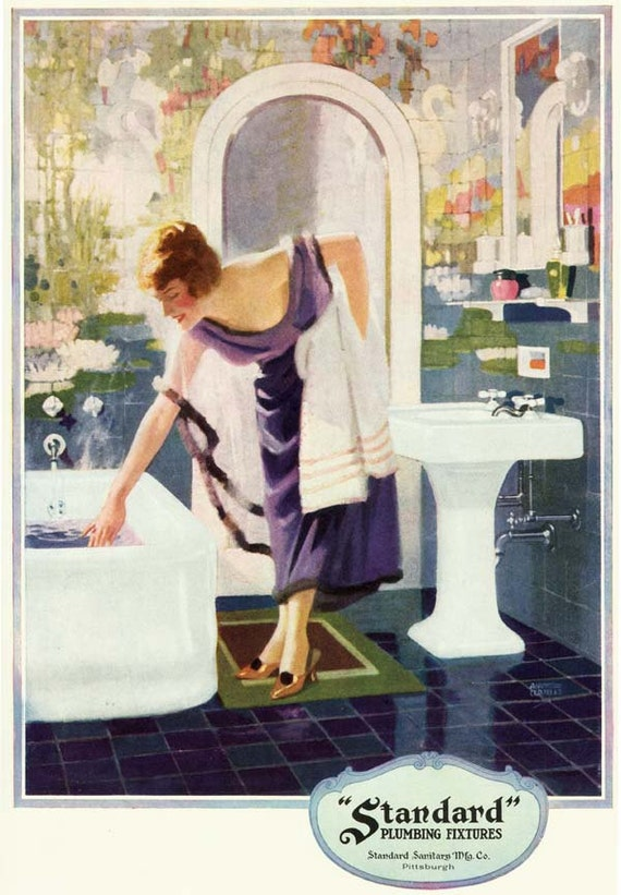 Vintage 1920s Deco Purple Blue Bathroom Bath Tub Sink