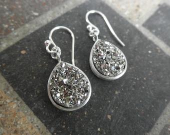 Titanium drusy earrings on sterling silver - teardrop earrings - teardrop druzy - silver teardrop druzy - sterling teardrop earrings