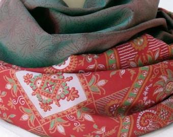 SALE Green Red Silk  Scarf