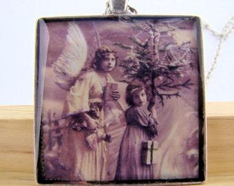 Resin Pendant, Christmas Angel, Tree, Sepia, 1 1/2 inch, Square, White, Beige, Black, For Her